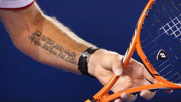 Stan Wawrinka and his Worstward tattoo - FirstSportz