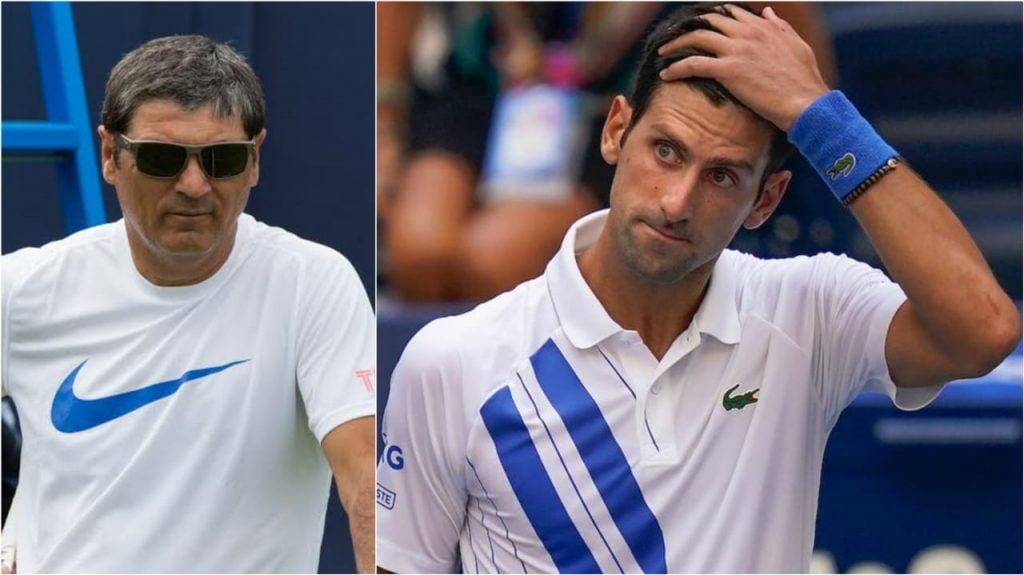 Toni Nadal and Novak Djokovic