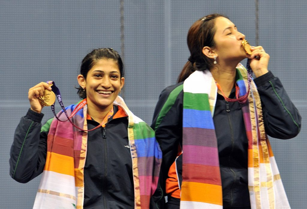 Jwala Gutta and Ashwini Ponnappa withthe Commonwealth Gold 2010