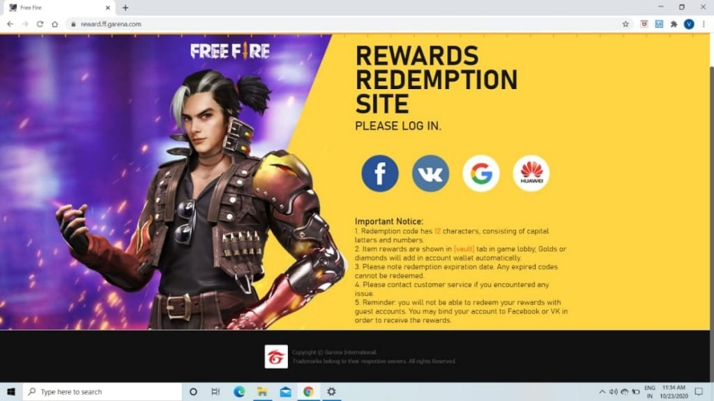 Garena Free Fire How To Redeem Rewards Through Redeem Code Firstsportz