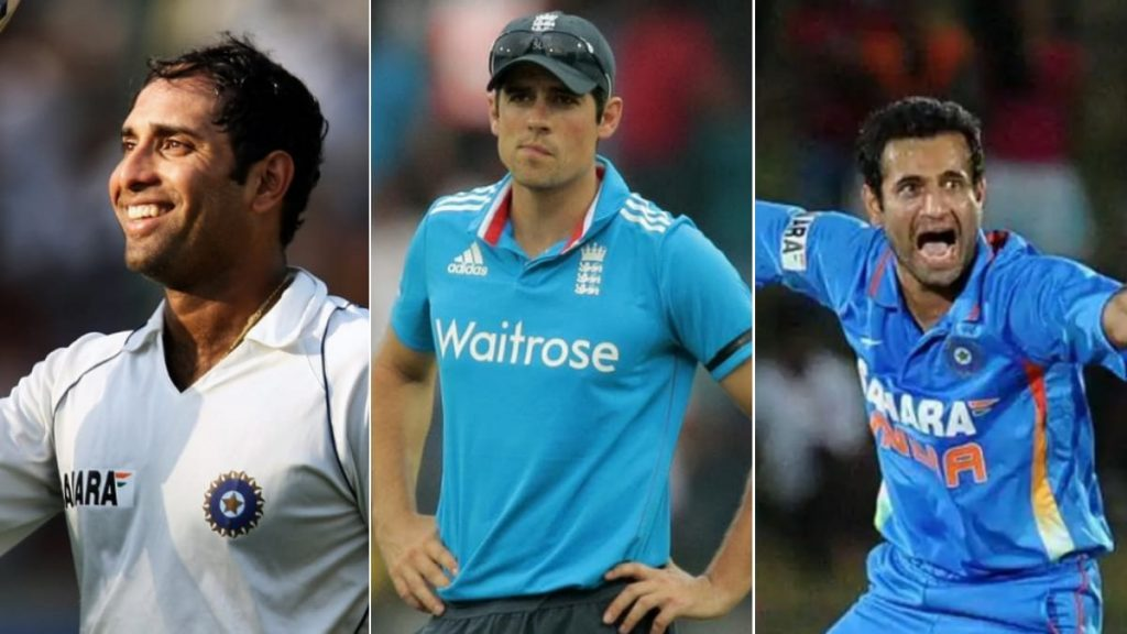 VVS Laxman, Alastair Cook and Irfan Pathan (L-R)