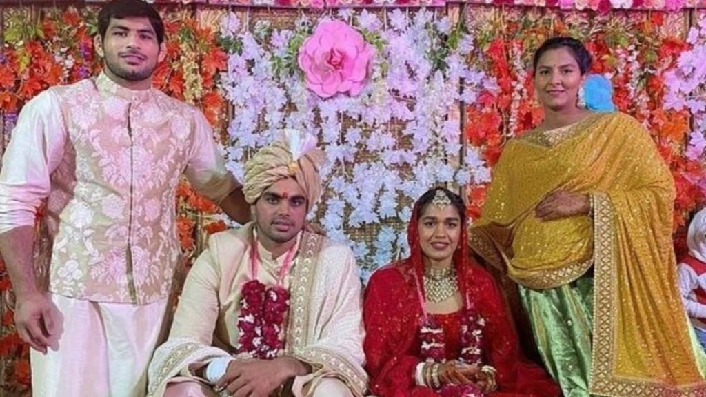 Wedding photo of Babita Phogat and Vivek Suhag