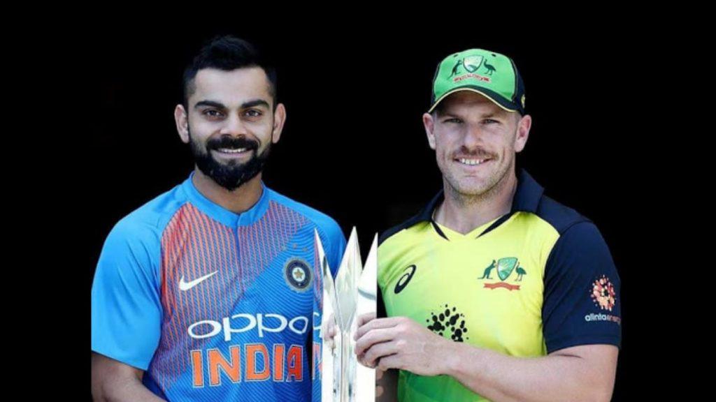 Indian captain Virat Kohli with Australia skipper Aaron Finch