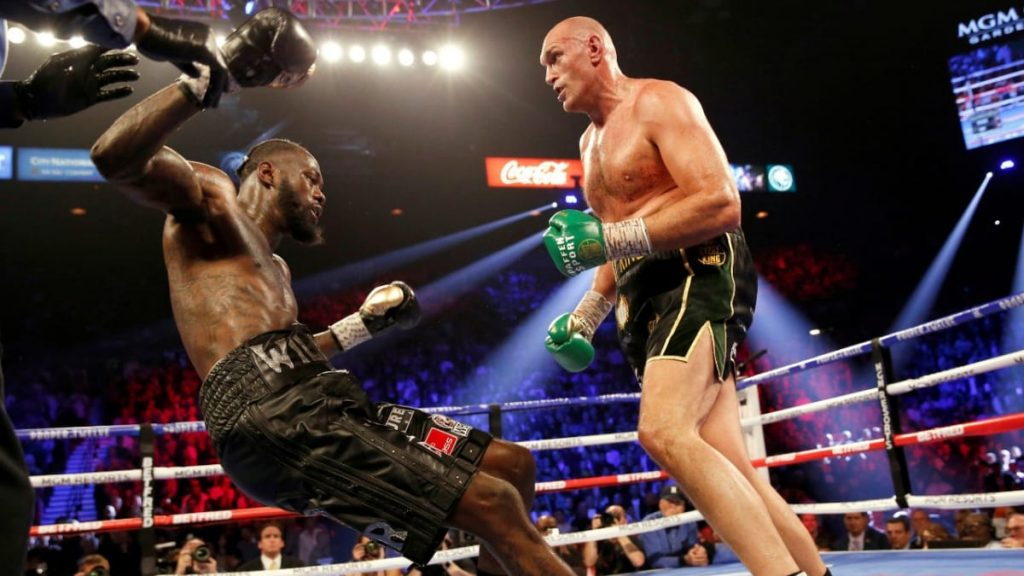 Deontay Wilder being knocked out by Tyson Fury