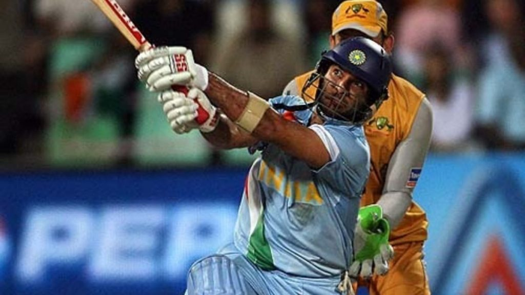 Yuvraj Singh plays a shot in 2007 T20 World Cup semi final