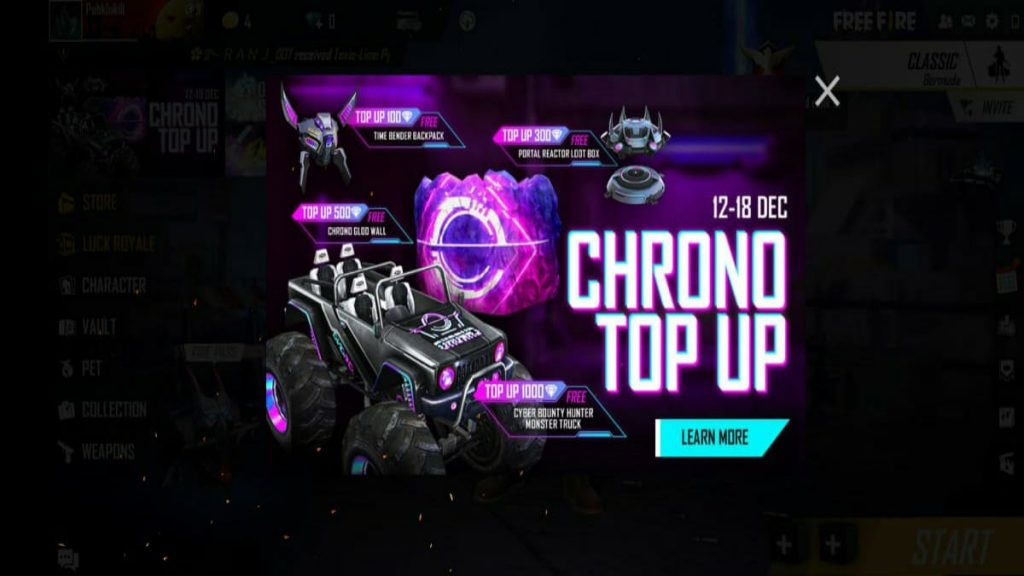 Garena Free Fire Chrono Top Up Event And All You Need To Know About It Firstsportz
