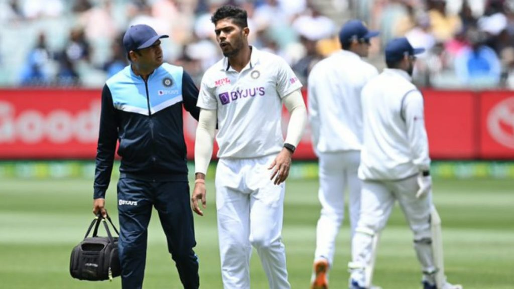Umesh Yadav limps off the field