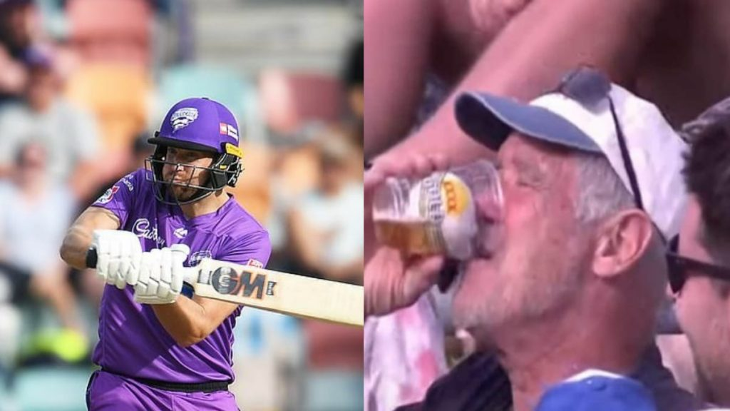 Dawid Malan and fan with ball in his beer cup