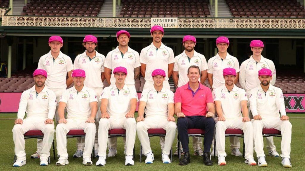 Glenn McGrath presented Australia team with Baggy Pink caps (Credits - Cricket Australia)