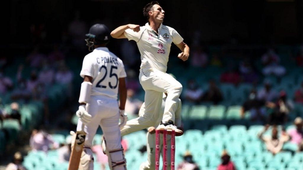 Pat Cummins celebrates Cheteshwar Pujara's wicket (Credit - Cricket Australia)