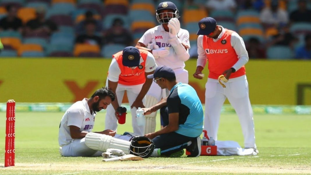 Cheteshwar Pujara receives treatment on Day 5 of the fourth Test, was batting with Rishabh Pant