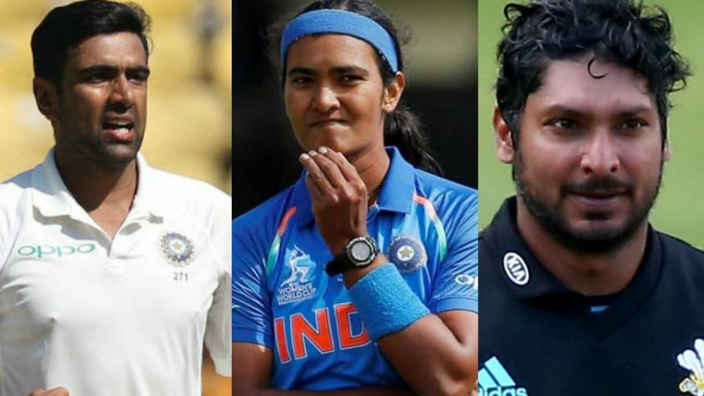 Ravichandran Ashwin, Shikha Pandey and Kumar Sangakkara (L-R)