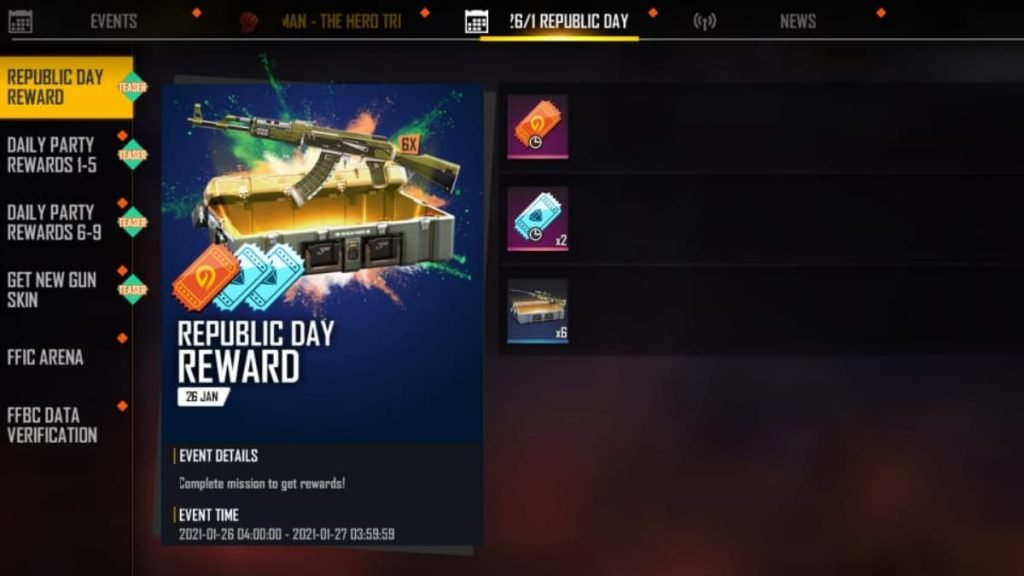 Free Fire Republic Day Events