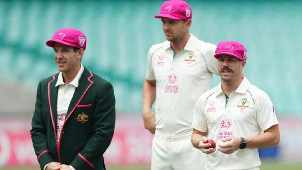 Tim Paine, Josh Hazlewood and David Warner flaunting the 'Baggy Pink' cap