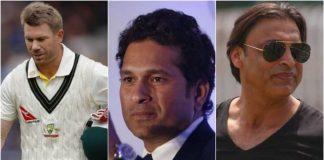 David Warner, Sachin Tendulkar and Shoaib Akhtar