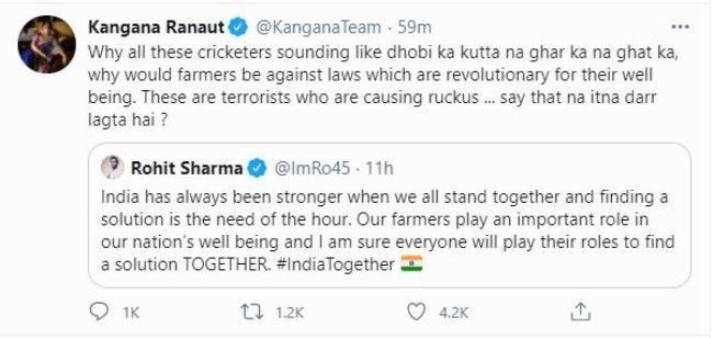 Kangana deleted tweet - FirstSportz
