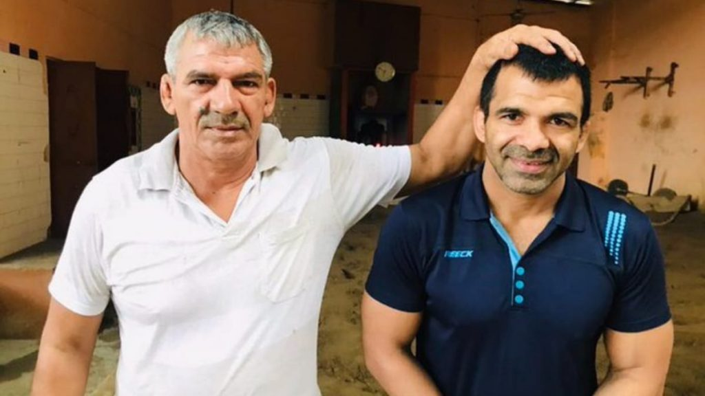 Virender Singh with his father Ajit Singh