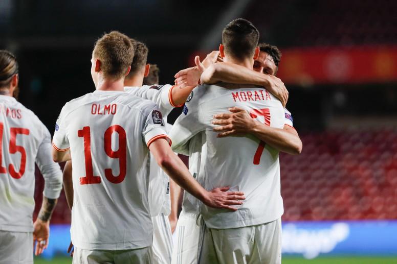 Alvaro Morata celebrates his opener against Greece - FirstSportz
