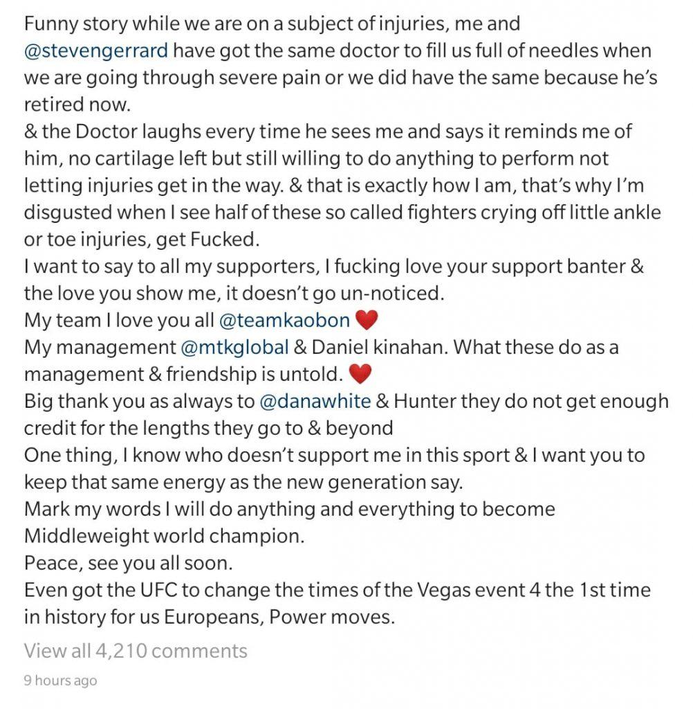 Darren Till official statement