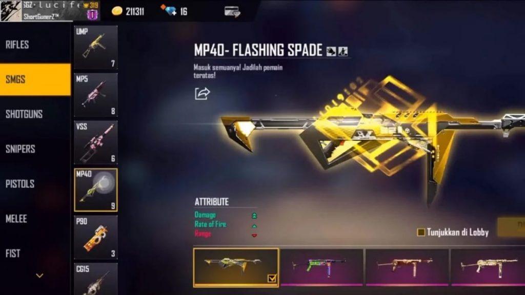 Flashing Spade MP40 skin