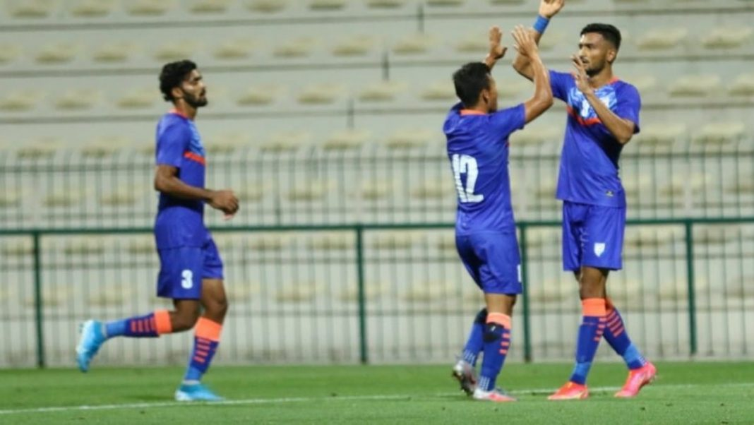 Manvir Singh celebrates his equalizer against Oman