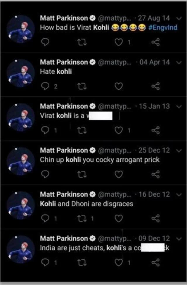 Matt Parkinson Virat Kohli