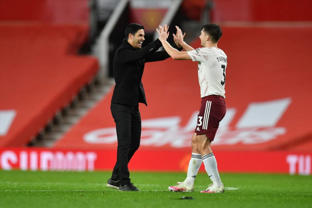 Mikel Arteta and Tierney celebrates after an Arsenal victory - FirstSportz