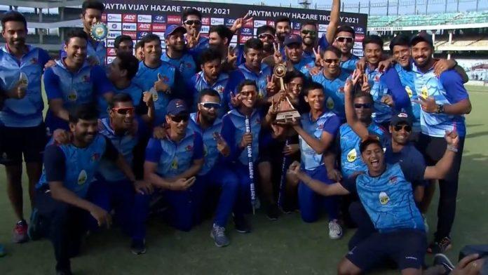 Mumbai Cricket Team with Vijay Hazare Trophy