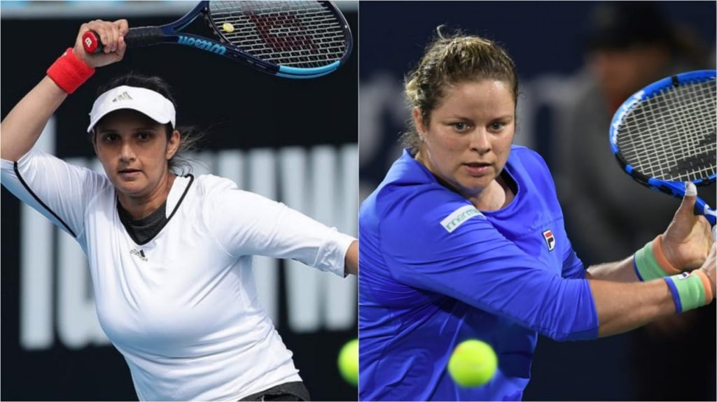 Sania Mirza (L) and Kim Clijsters (R)
