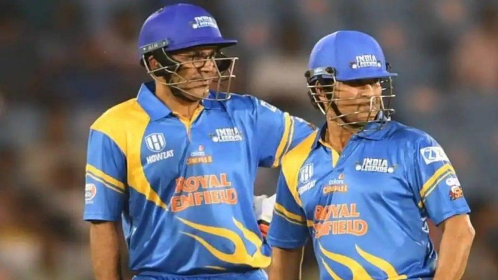 Virender Sehwag and Sachin Tendulkar for India Legends