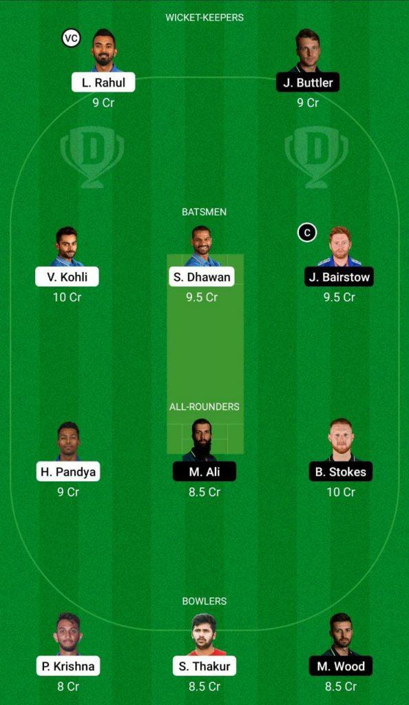 India vs England 2nd ODI Dream11