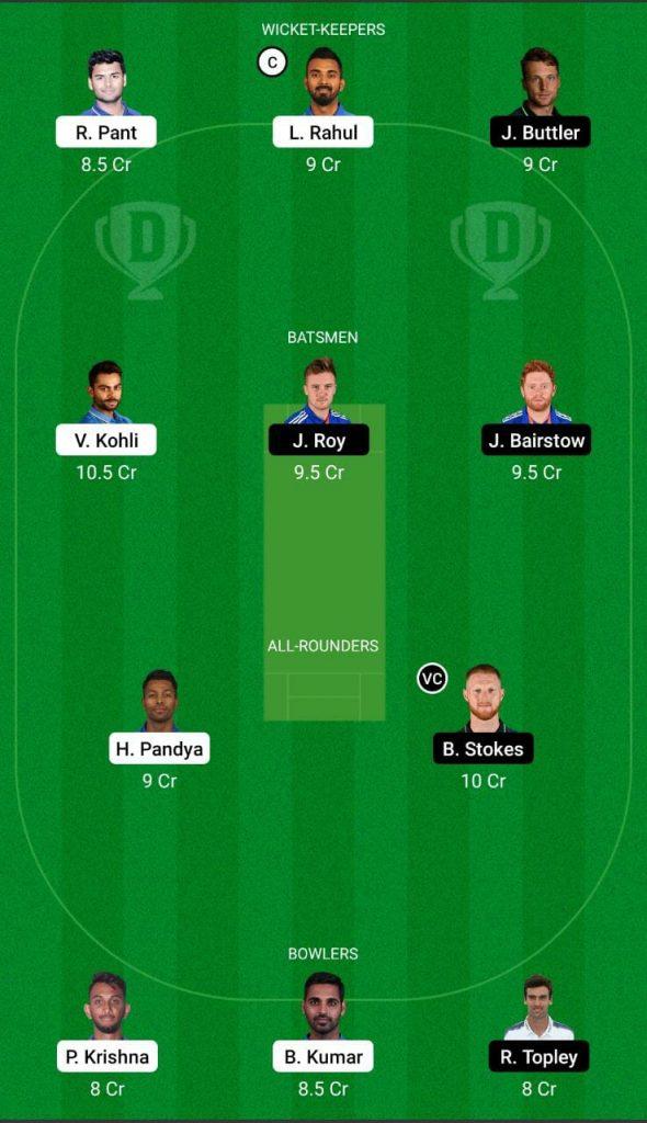 Ind vs Eng 3rd ODI Dream11