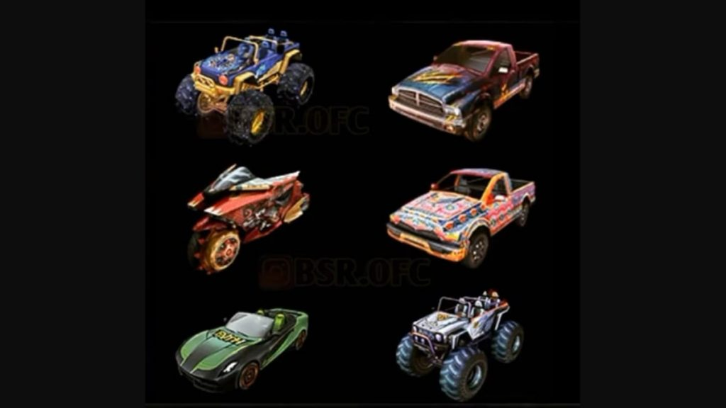 Upcoming Vehicle skins in Free Fire
