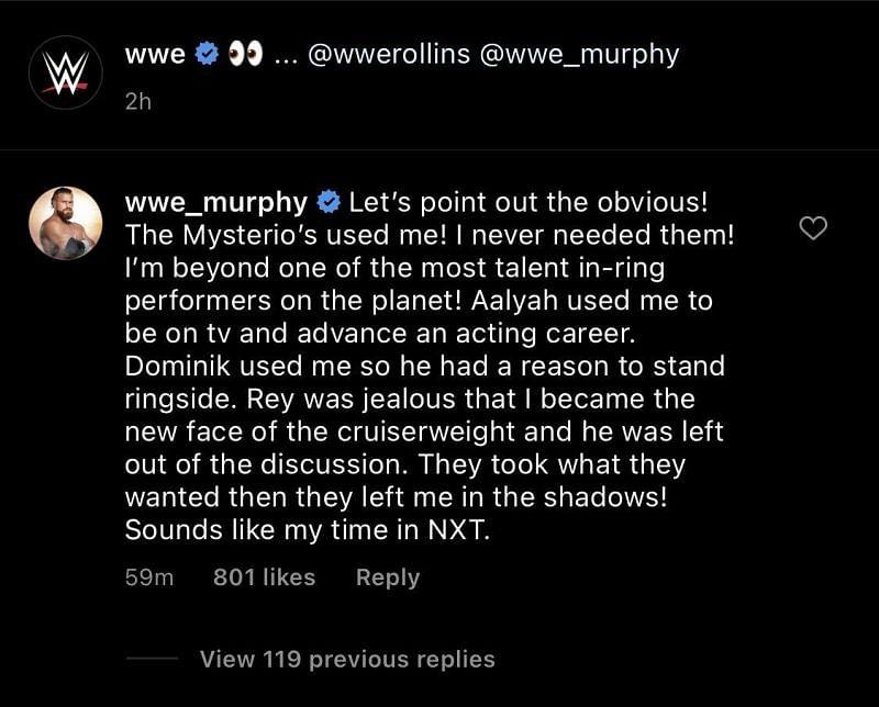 Murphy instagram comment