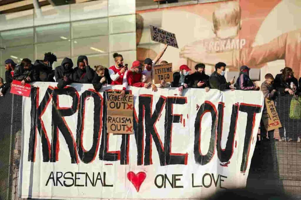 Arsenal fans protesting against their owners - FirstSportz