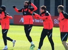Liverpool team in training