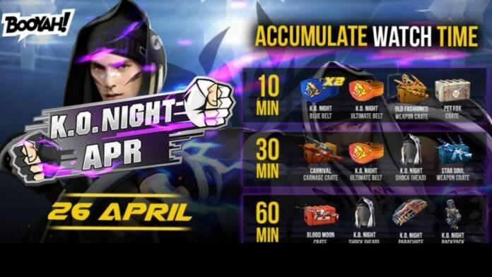 KO Night BOOYAH Watch time rewards for April 26