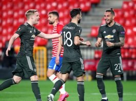 Manchester United players celebrate against Granada