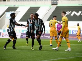 Newcastle players celebrate their equalizer against Tottenham