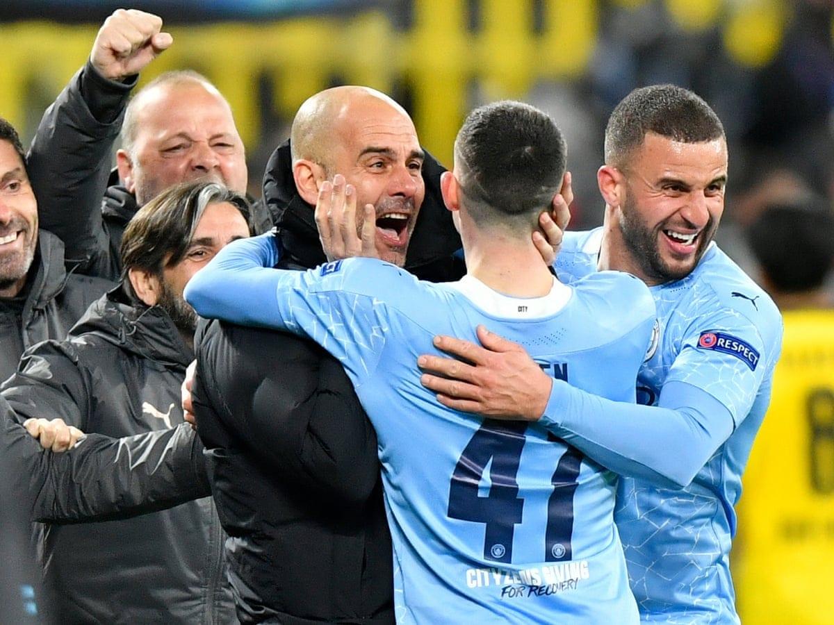 Pep Guardiola celebrates Manchester City's win in the quarter finals