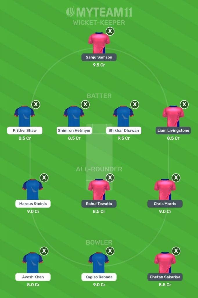 Rajasthan Royals vs Delhi Capitals My Team 11 Prediction 2