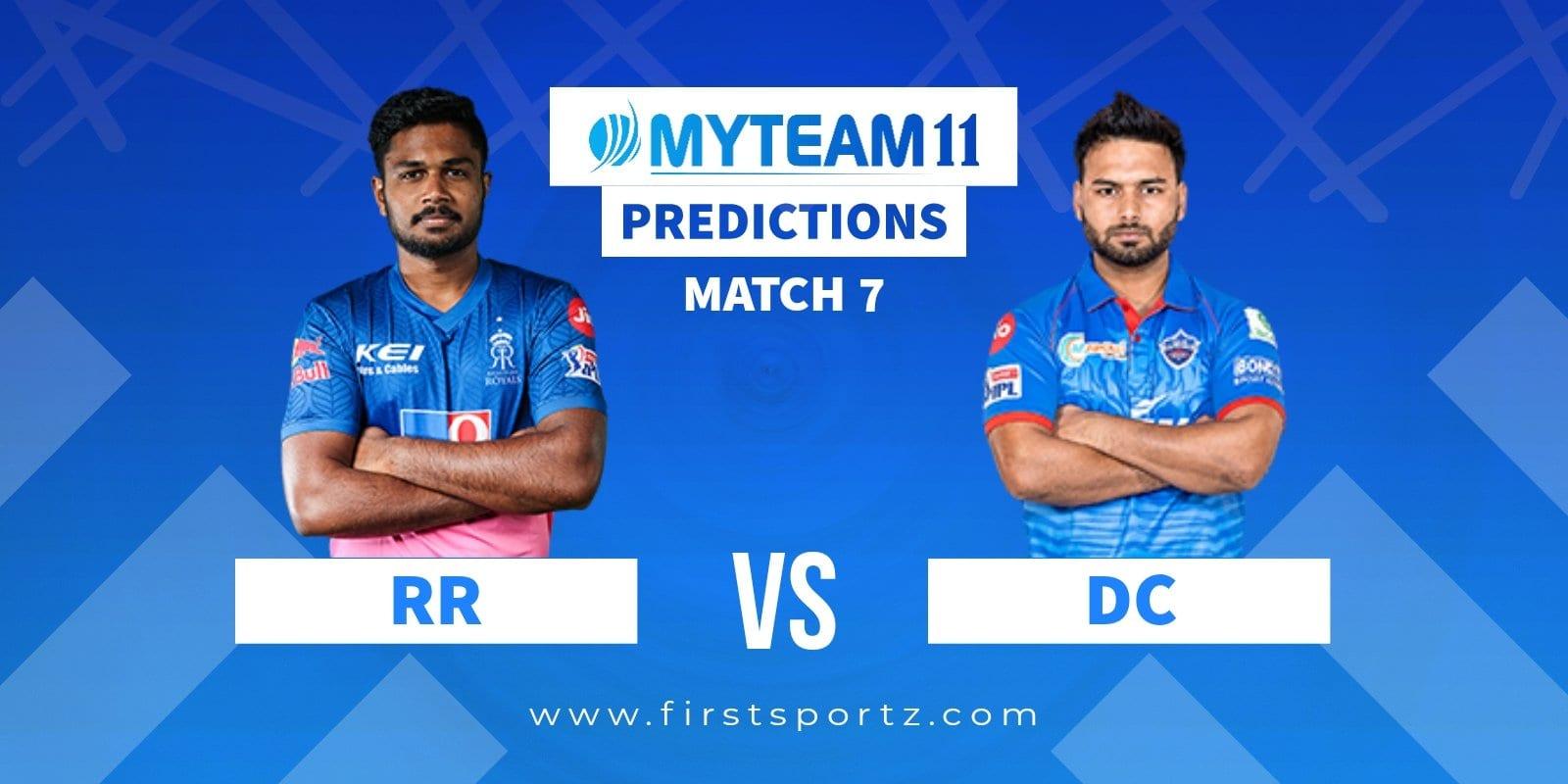 Rajasthan Royals vs Delhi Capitals My Team 11 Prediction RR vs DC