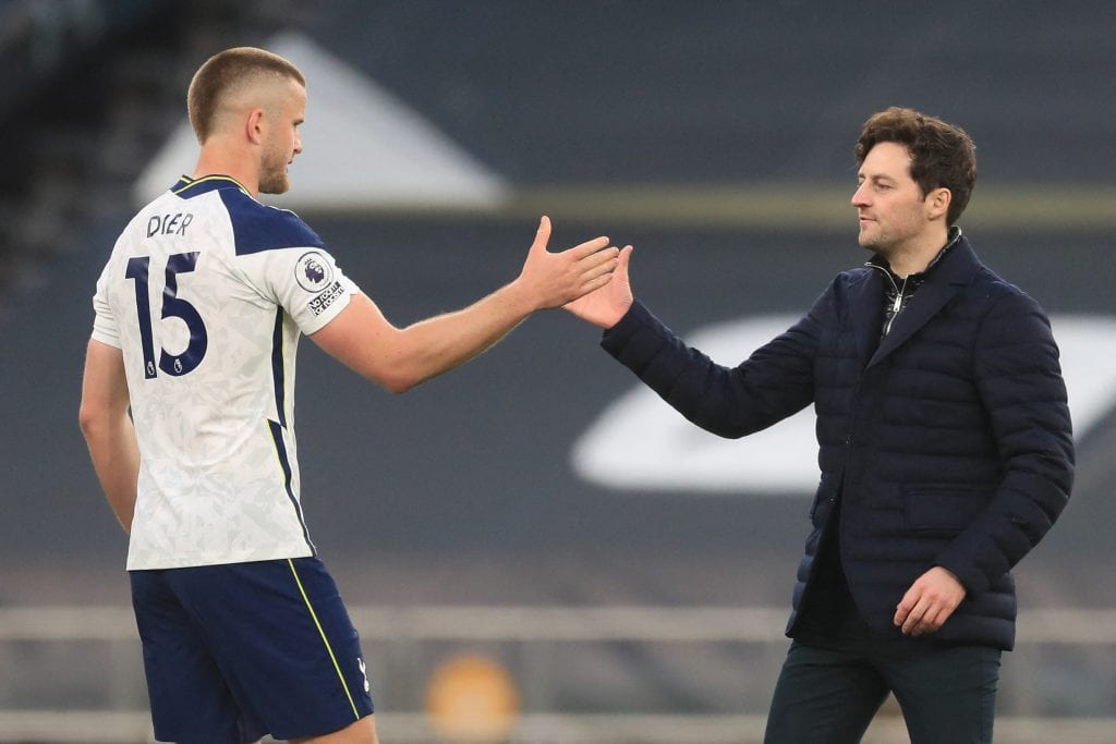 The manager congratulates Eric Dier after the match 1 - FirstSportz