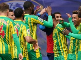 West Bromwich celebrate their 5-2 victory over Chelsea at Stamford Bridge