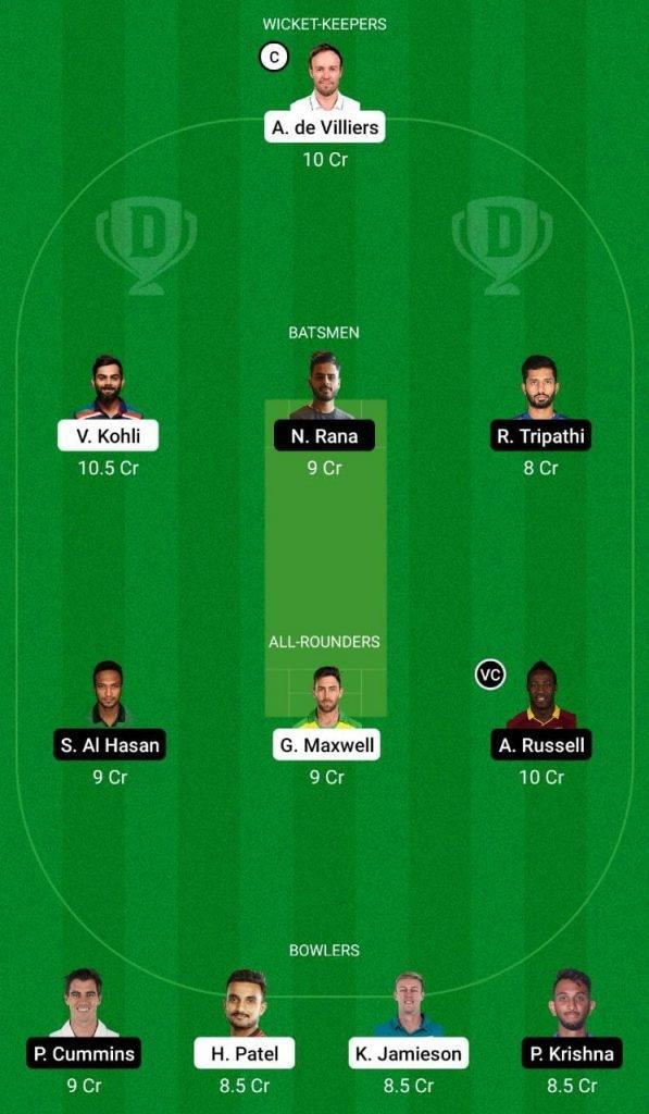 RCB vs KKR IPL 2021 Dream11