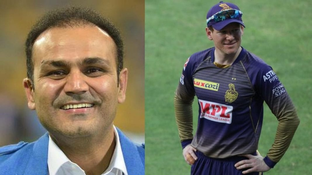 Virender Sehwag and Eoin Morgan