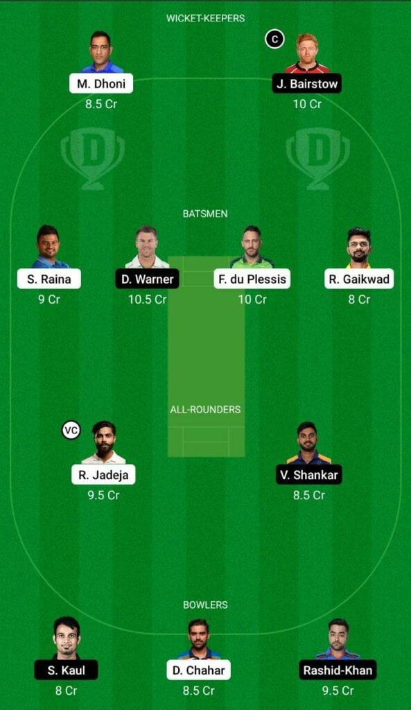 CSK vs SRH IPL 2021 Dream11