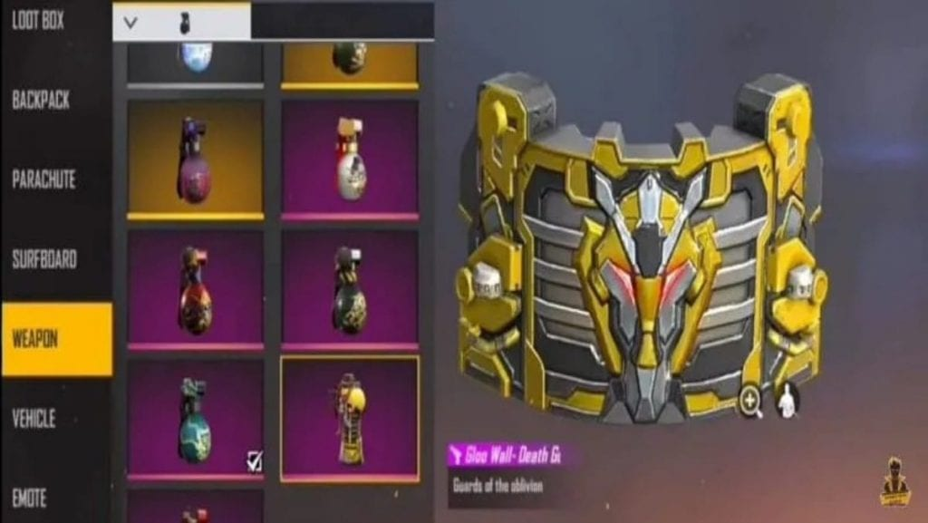 rarest gloo skins in free fire death guardia