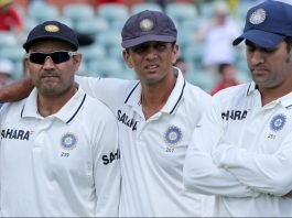 Virender Sehwag, Rahul Dravid and MS Dhoni