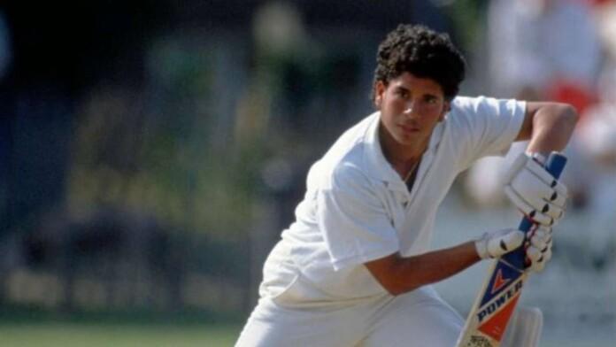 A young Sachin Tendulkar